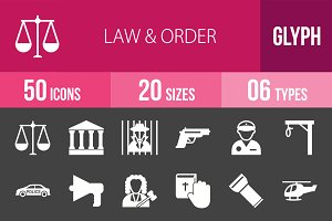 50 Law & Order Glyph Inverted Icons