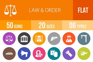 50 Law & Order Flat Round Icons