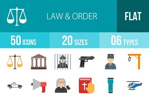 50 Law & Order Flat Multicolor Icons