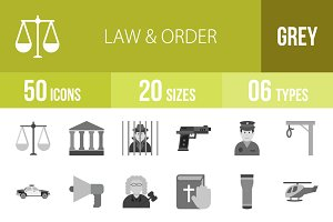 50 Law & Order Greyscale Icons