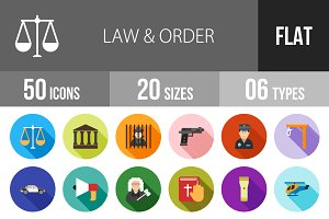 50 Law & Order Flat Shadowed Icons
