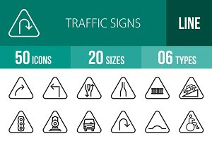50 Traffic Signs Line Icons