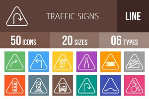50 Traffic Signs Line Multicolor