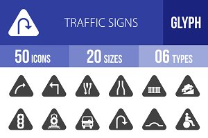 50 Traffic Signs Glyph Icons
