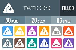 50 Traffic Signs Flat Round Corner