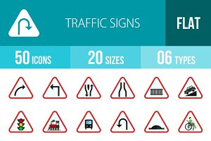 50 Traffic Signs Flat Multicolor