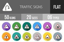 50 Traffic Signs Flat Shadowed Icons