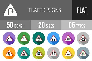 50 Traffic Signs Flat Shadowed Icons