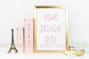Frame mockup. Gold and pastel