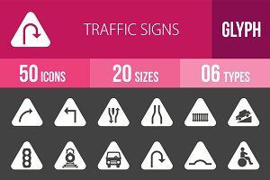 50 Traffic Signs Glyph Inverted