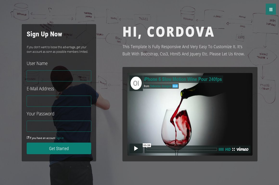 Cordova-Responsive One Page Template ~ Bootstrap Themes ~ Creative ...