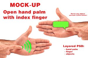 Open hand with forefinger MOCKUP