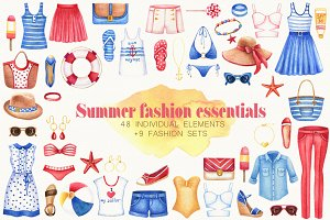 Watercolor Summer fashion set