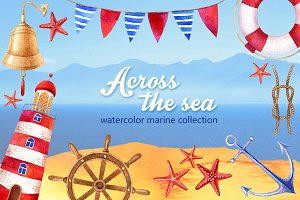 Watercolor marine illustrations set