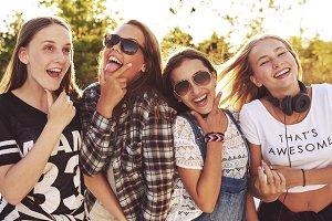 Group of girls making fun expression