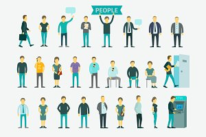 Set with business people vector flat