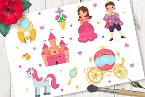 Princess cartoon vector set
