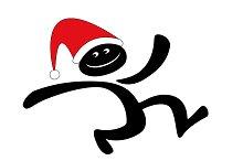 Christmas running man vector