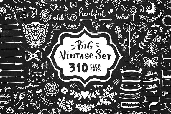 310 elements - Big Vintage Set in Objects