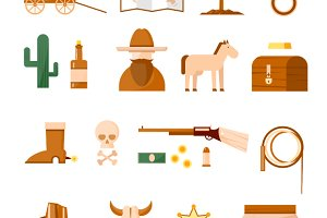Wild west set of icons. Flat design