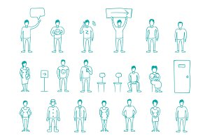 Set vector draw people