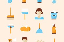Cleaning and hygiene tools set icons