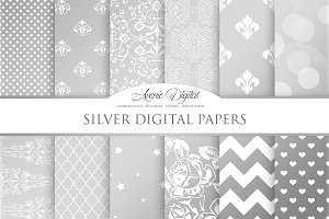 Silver Patterns Digital Papers