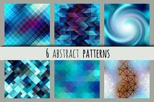 Set of blue abstract patterns.