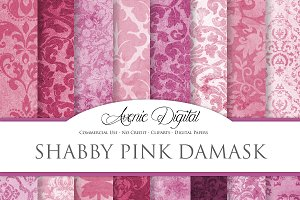 Shabby Chic Pink Damask Textures