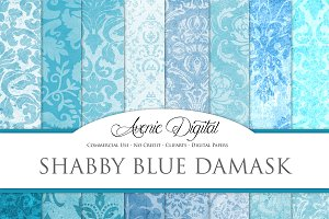 Shabby Chic Blue Damask Textures