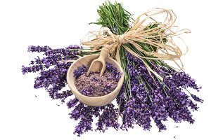 Lavender flowers with bath salt