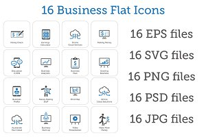 16 Business Flat Icons Set