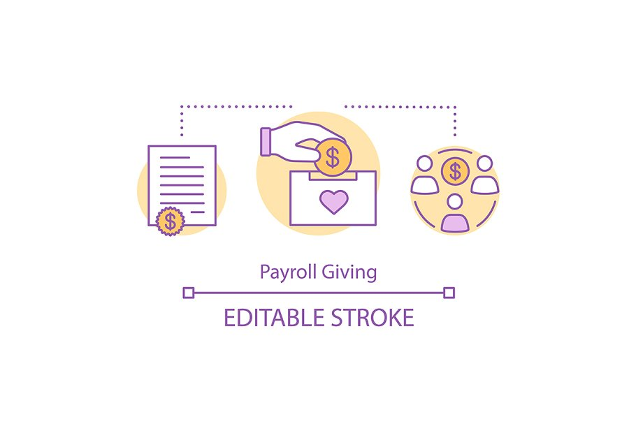 Payroll giving concept icon