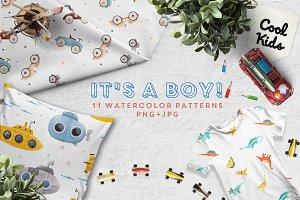 """It's a boy"" baby patterns"