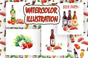 Beer bottles watercolor poster.