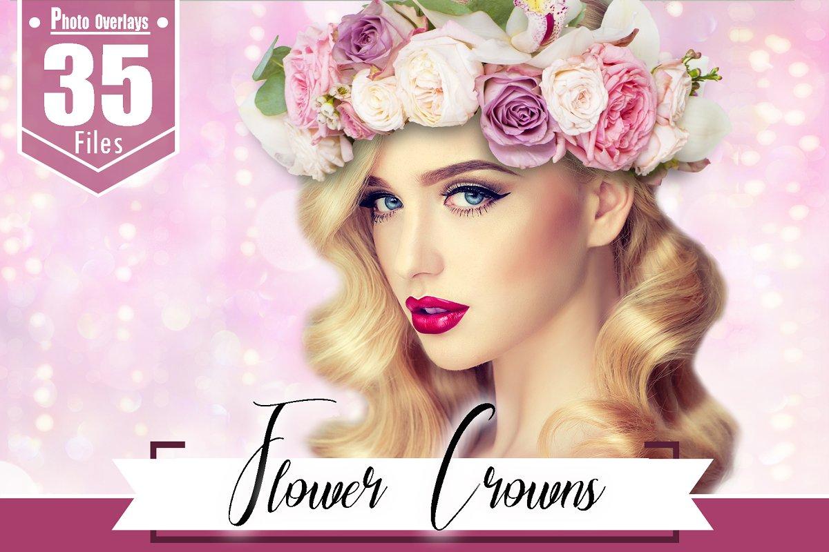 35 flower hair crown overlay