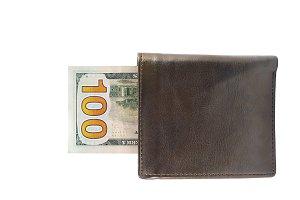 100 dollar bill in leather wallet