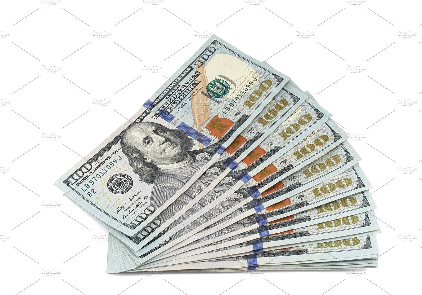 Stack of new 100 dollar bills ~ Business Photos ~ Creative Market