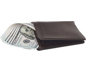 100 dollar bills in wallet