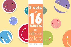 2 sets of 16 smileys