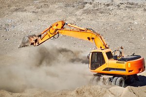 Excavator bulldozer mover in action
