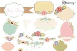 Pastel Spring Flowers Vectors