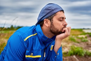 Pensive meditative man
