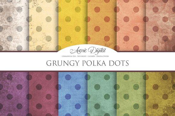 Grungy Polka Dot Digital Paper