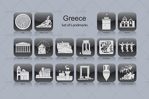 Greece landmark icons (16x)