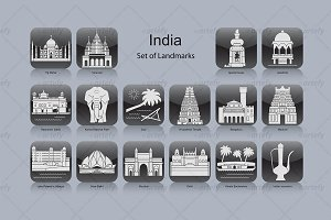 India landmark icons (16x)