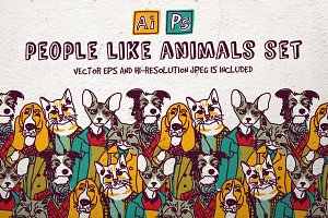 People like animals vector set