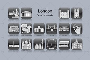 London landmark icons (16x)