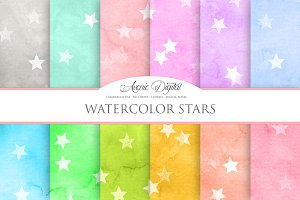 Watercolor Stars Digital Paper