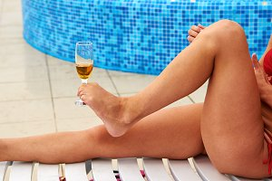 Glass of champagne in foot